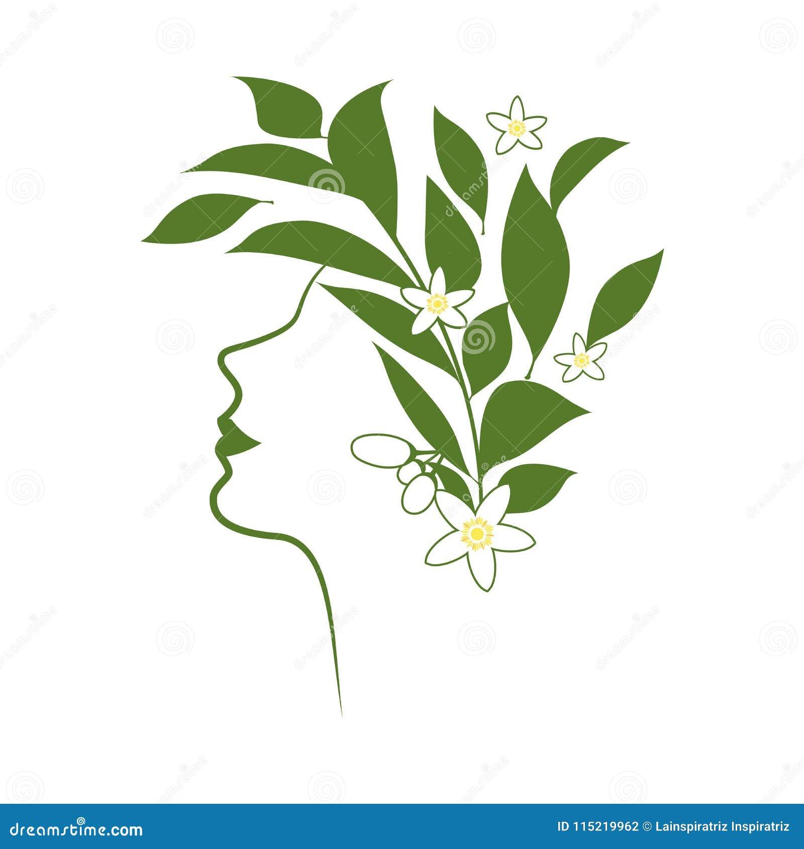 Profilowa linia kobieta z kwiatami i pomarańczowymi okwitnięcie liśćmi