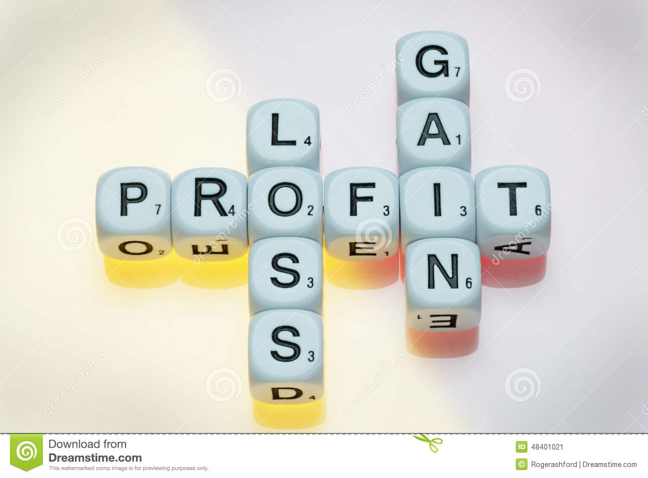 profit gain and loss on dice stock image image of banking design