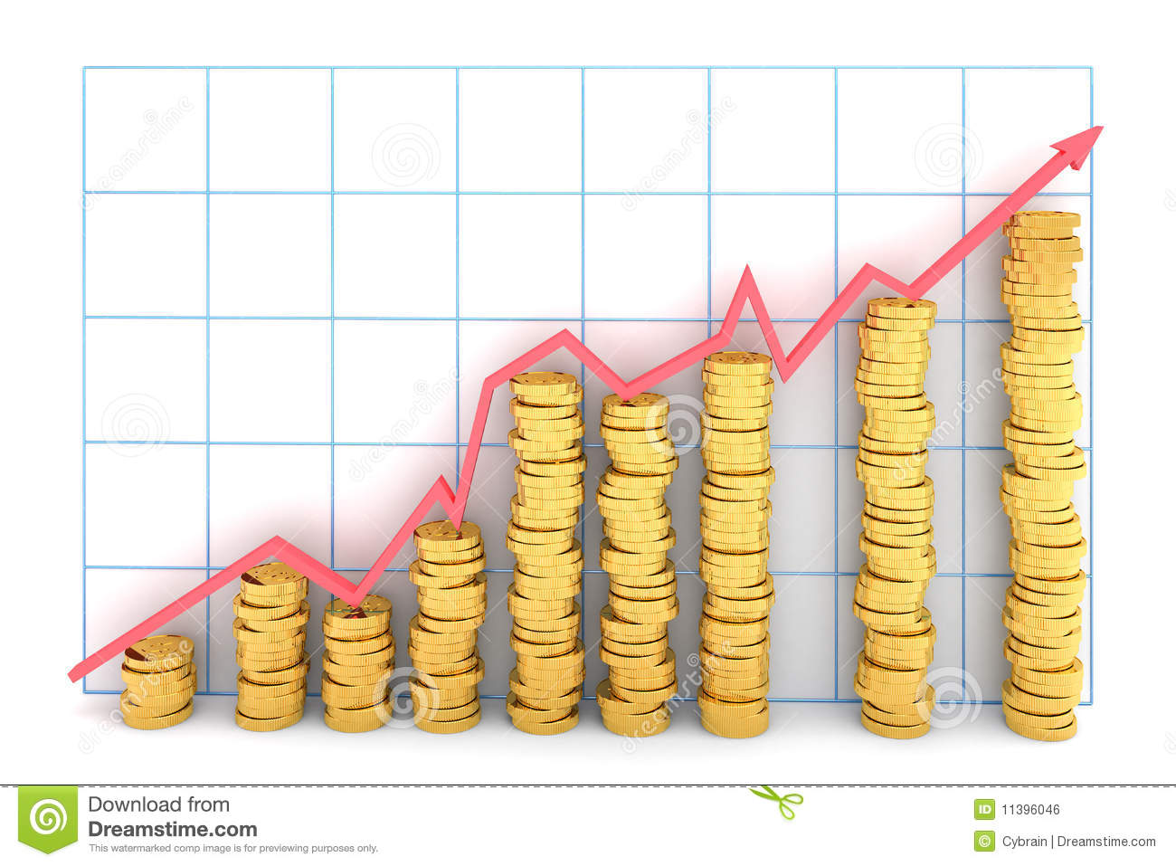The bar graph from gold coins. Hi-res digitally generated image.