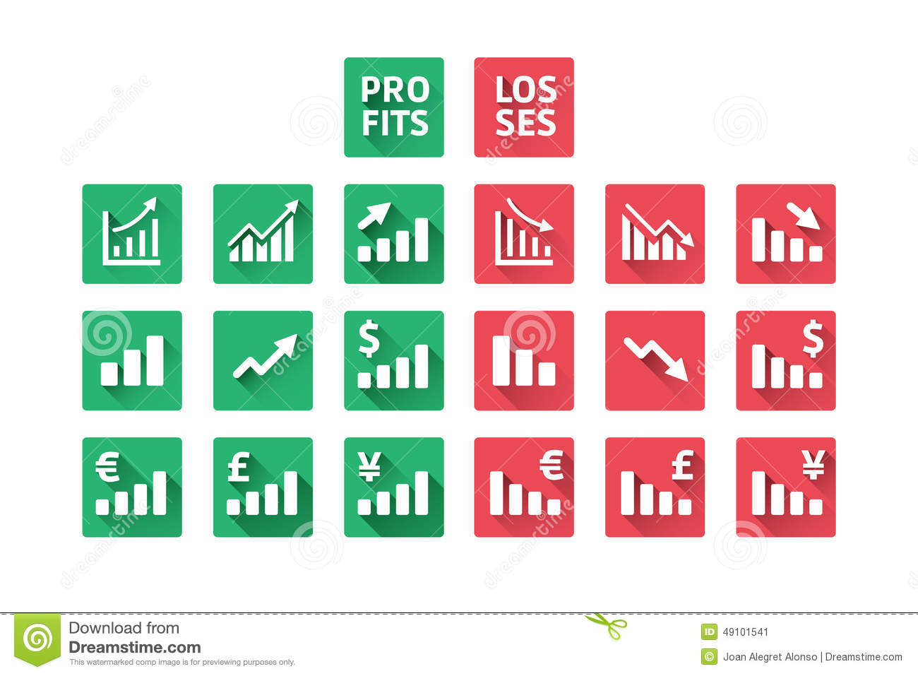 profit and losses icons stock vector illustration of expansion