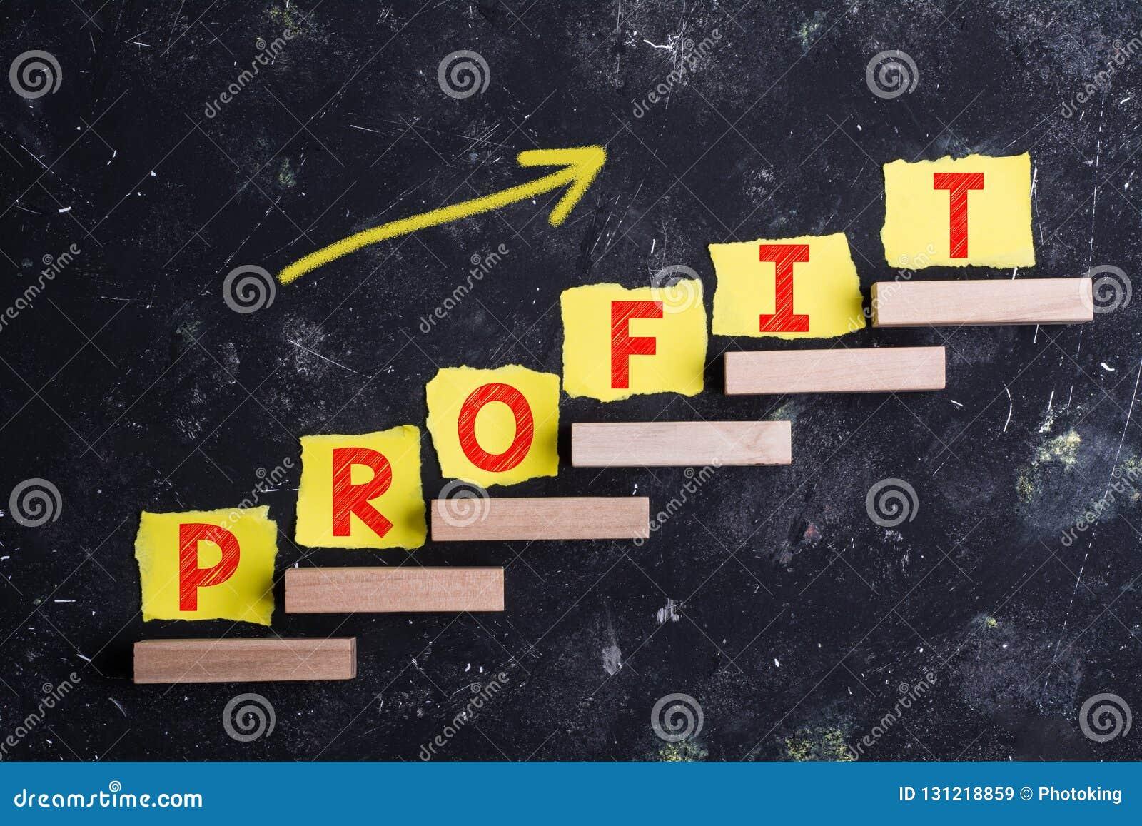 Profit word on steps
