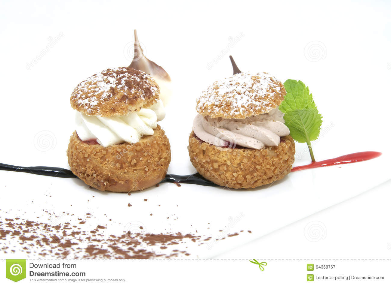 Cream Puffs With Vanilla Ice Cream And Chocolate Sauce Recipes ...
