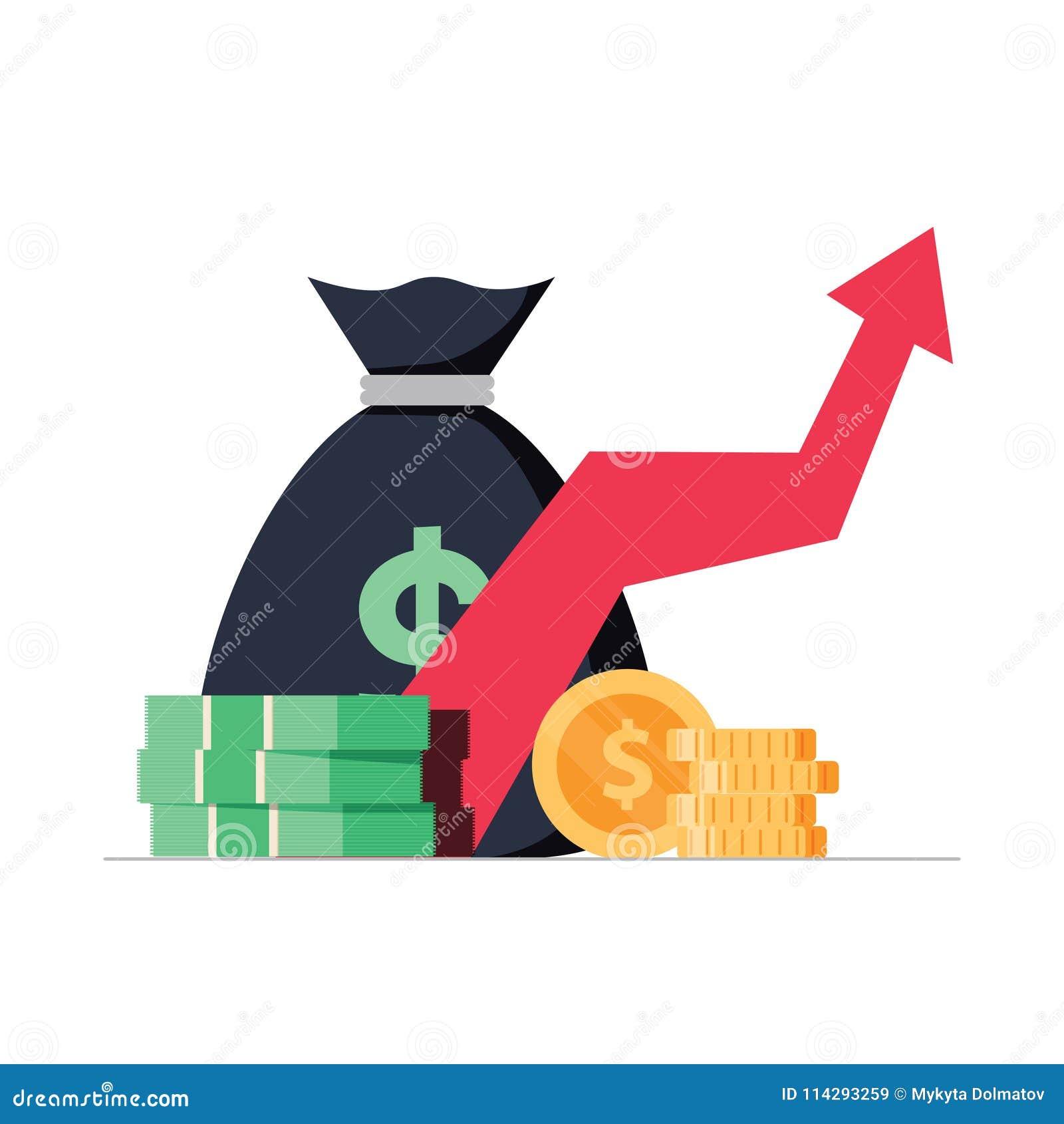 Profitez l argent ou économisez l illustration de vecteur, la pile plate de bande dessinée de l argent liquide et la flèche en ha