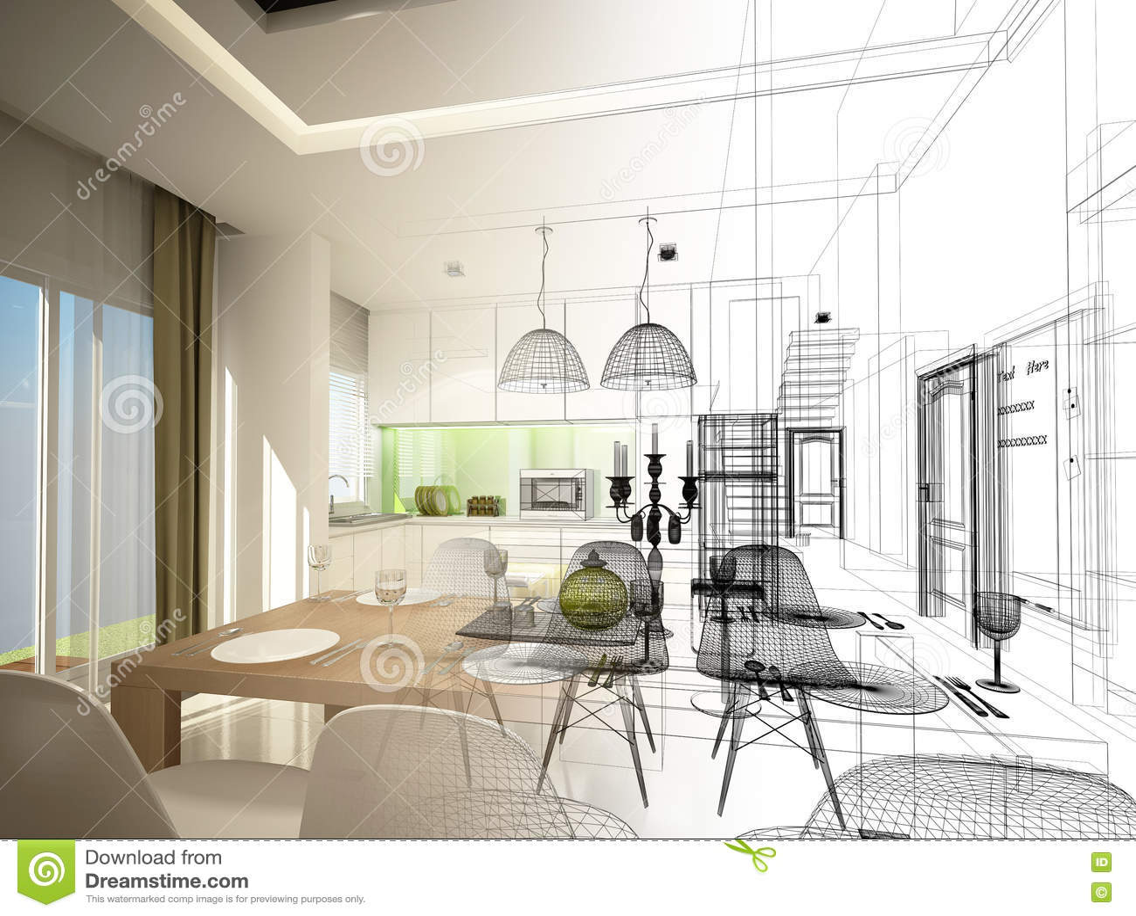 Progettazione astratta di schizzo pranzare dell interno e della stanza della cucina, 3d
