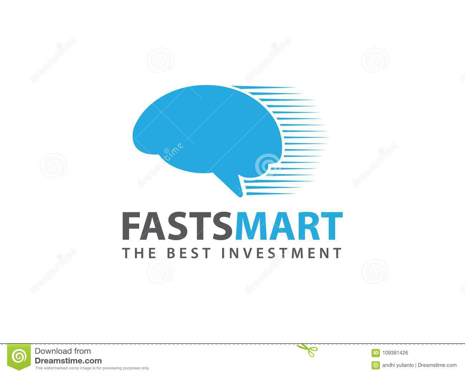 Progettazione astuta e veloce di logo di vettore del cervello del pensatore