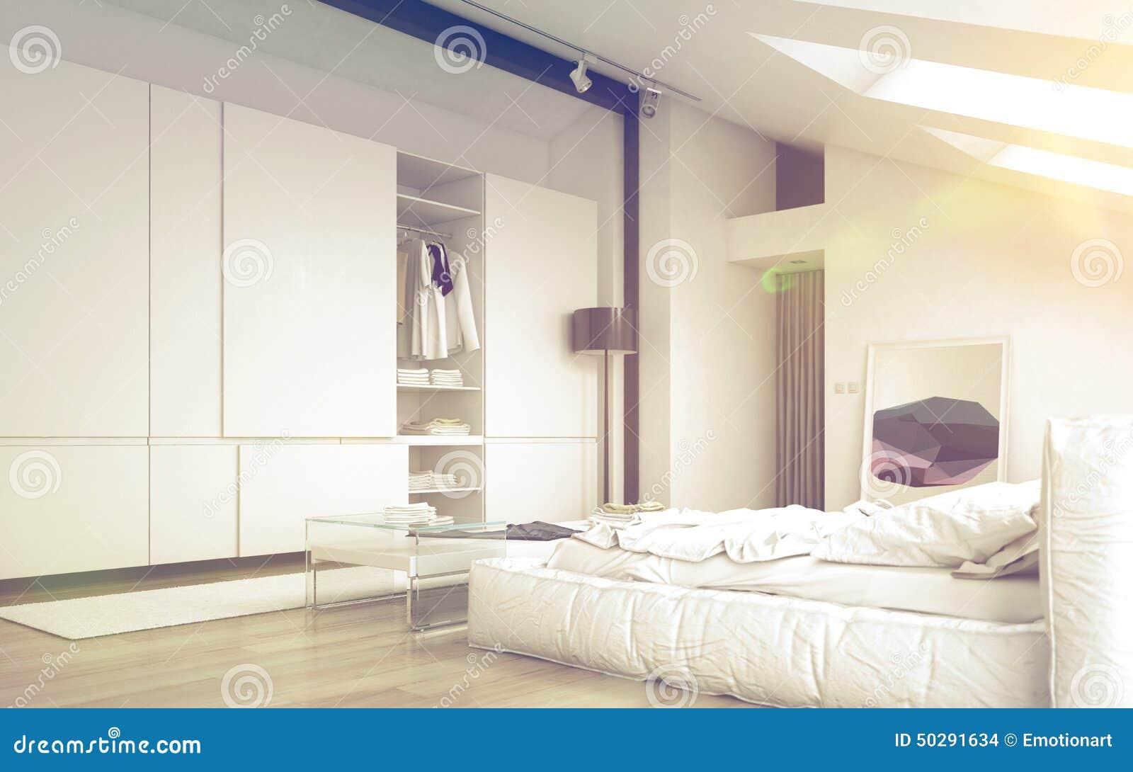 Camere Da Sogno Fine Living : Progettazione bianca architettonica illuminata della camera da letto