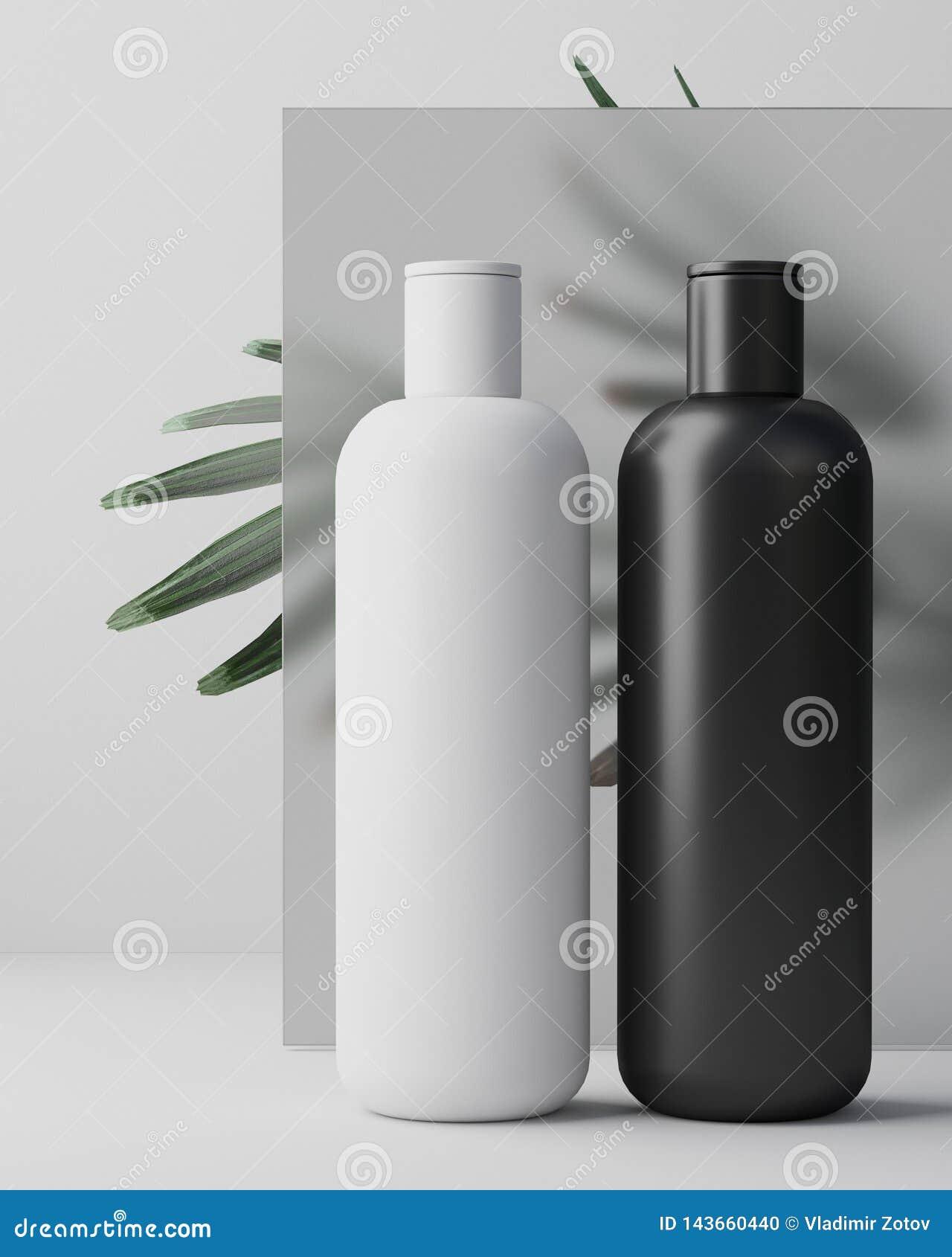 Progettazione bianca di crema cosmetica naturale, siero, bottiglia in bianco dello skincare che imballa con l erba delle foglie,