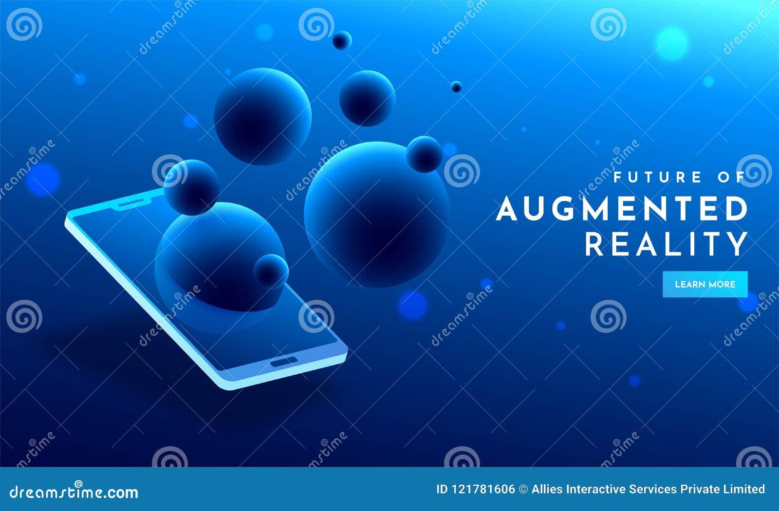 Progettazione blu brillante del modello Web con la vista isometrica dello smartphone
