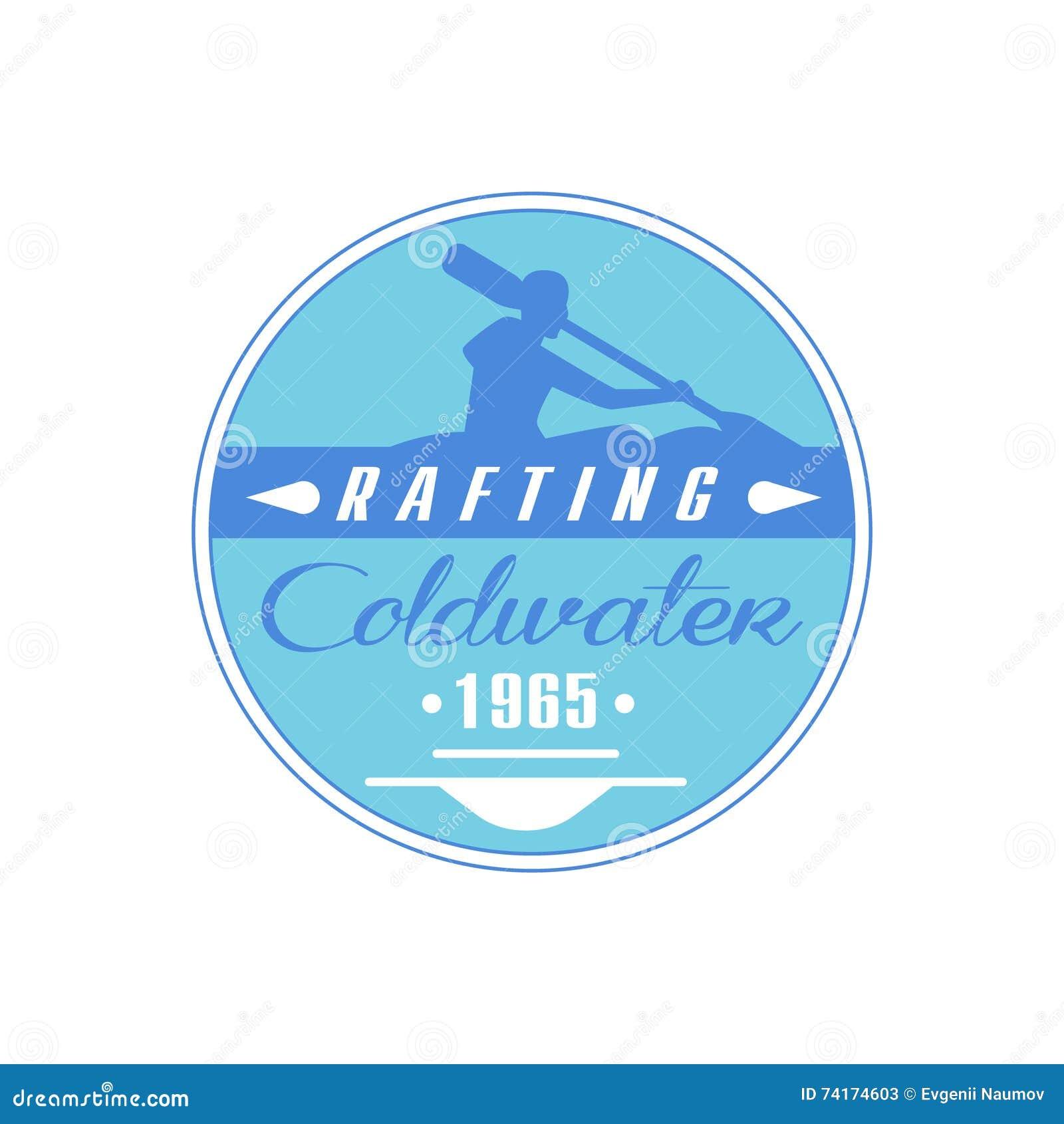 Progettazione blu dell emblema di Coldwater di rafting