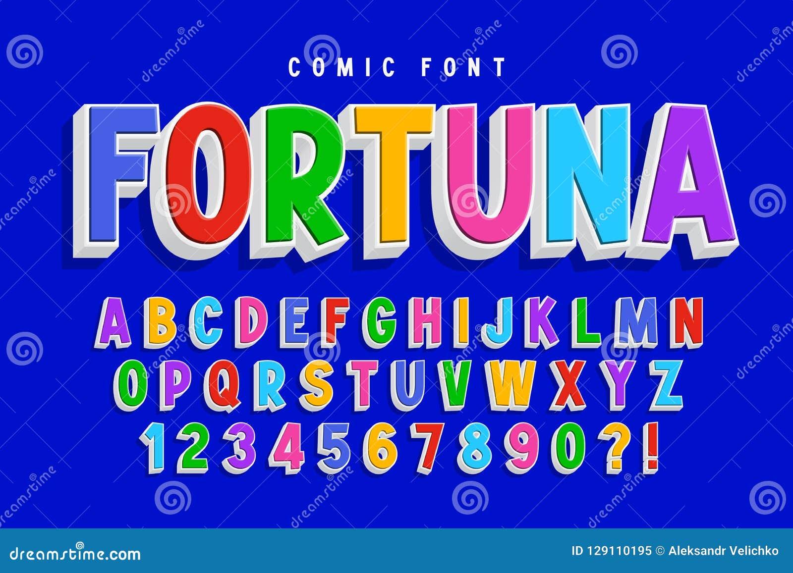 Progettazione comica d avanguardia della fonte 3d, alfabeto variopinto, carattere