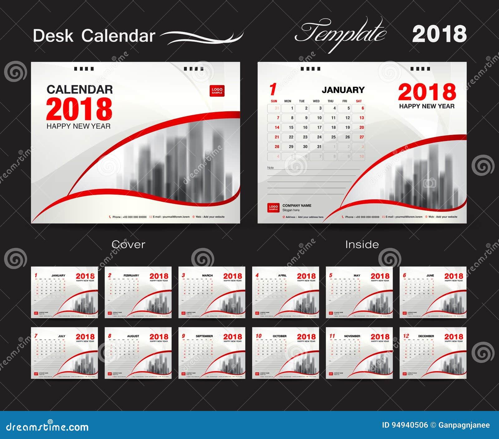 Progettazione 2018, copertura rossa, un insieme del modello del calendario da scrivania di 12 mesi,