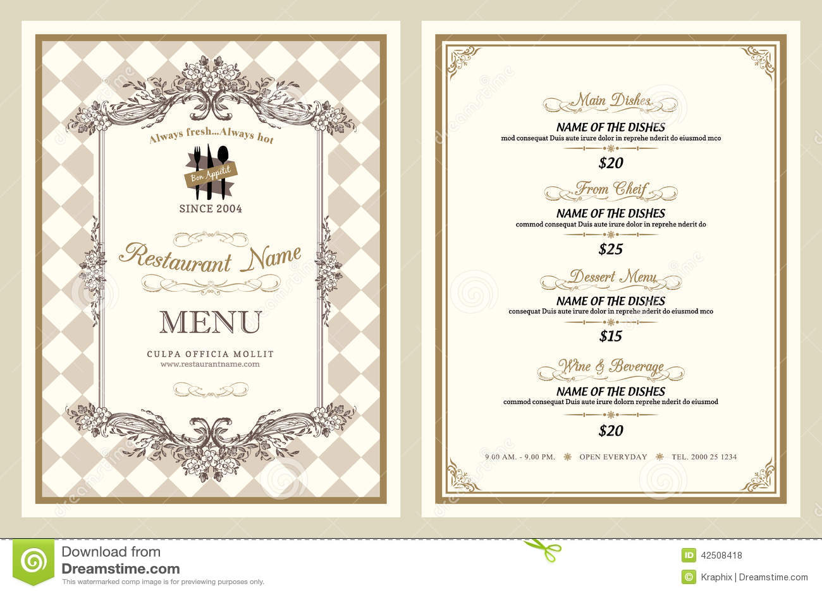 Progettazione d annata del menu del ristorante di stile