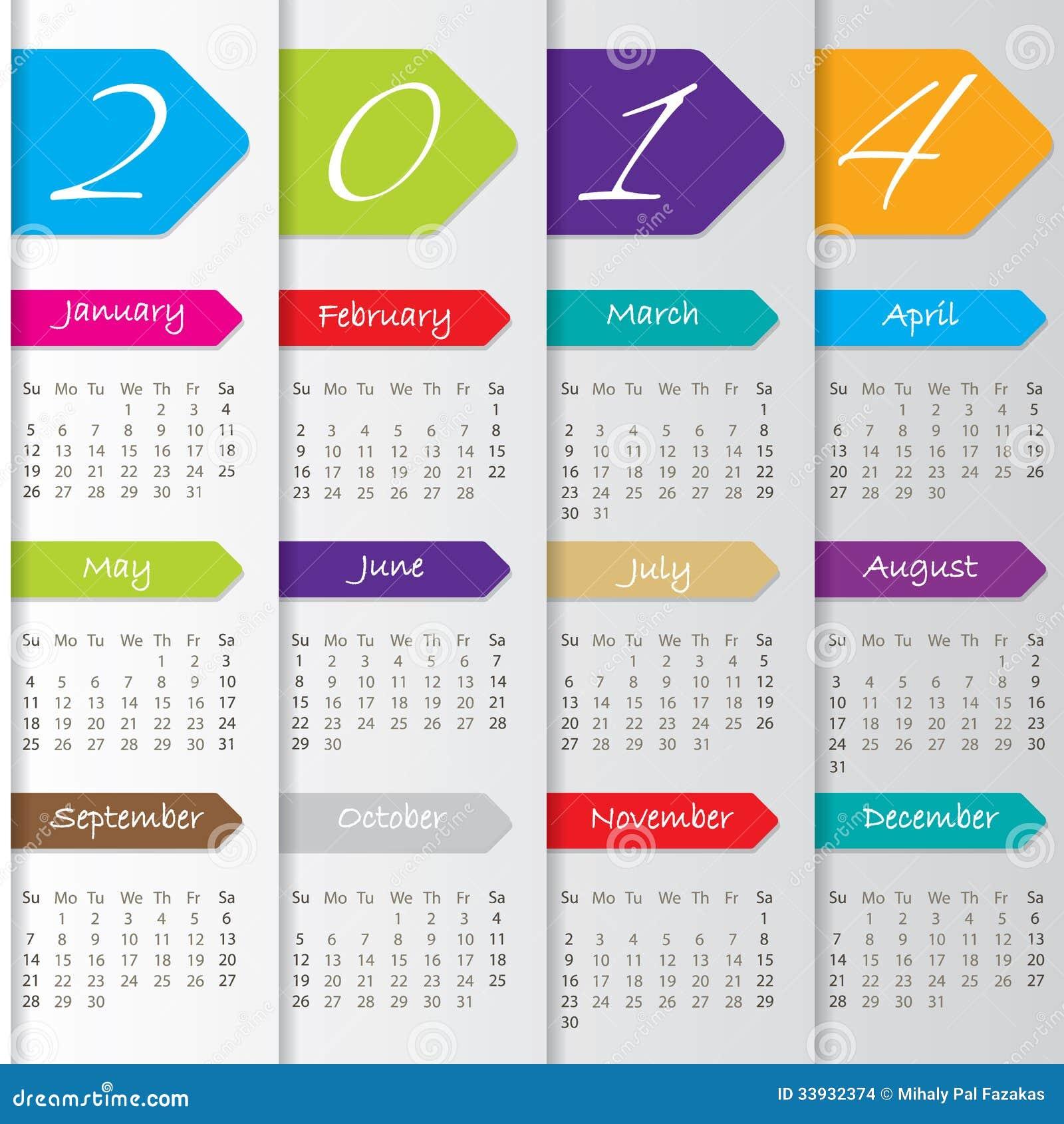 Calendario Anno 2014.Progettazione Del Calendario Della Freccia Per 2014