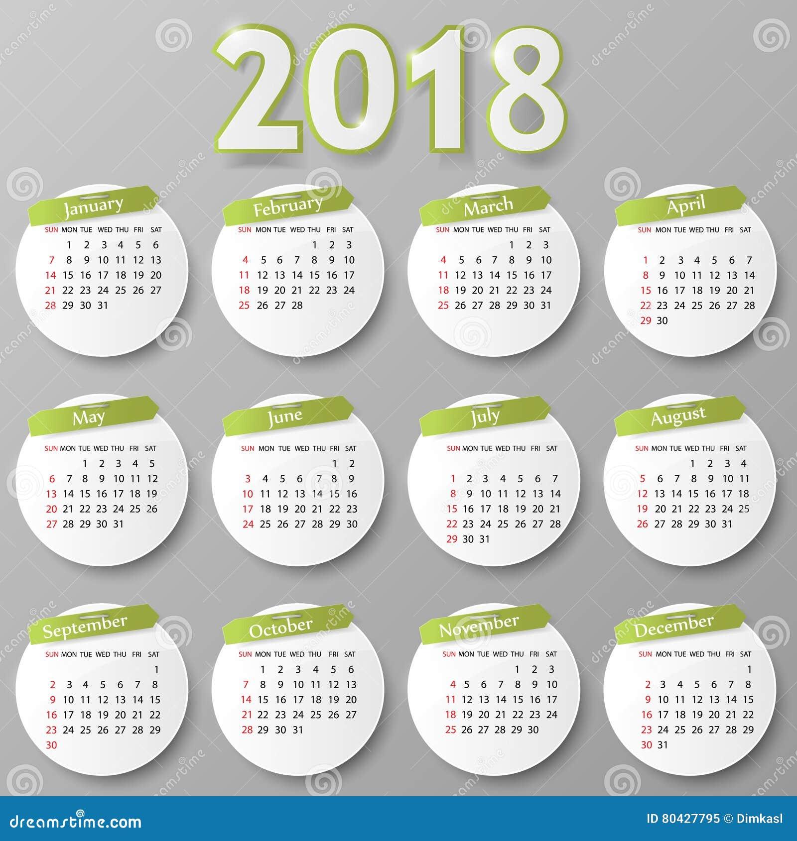 Progettazione del calendario di anno Illustrazione di vettore