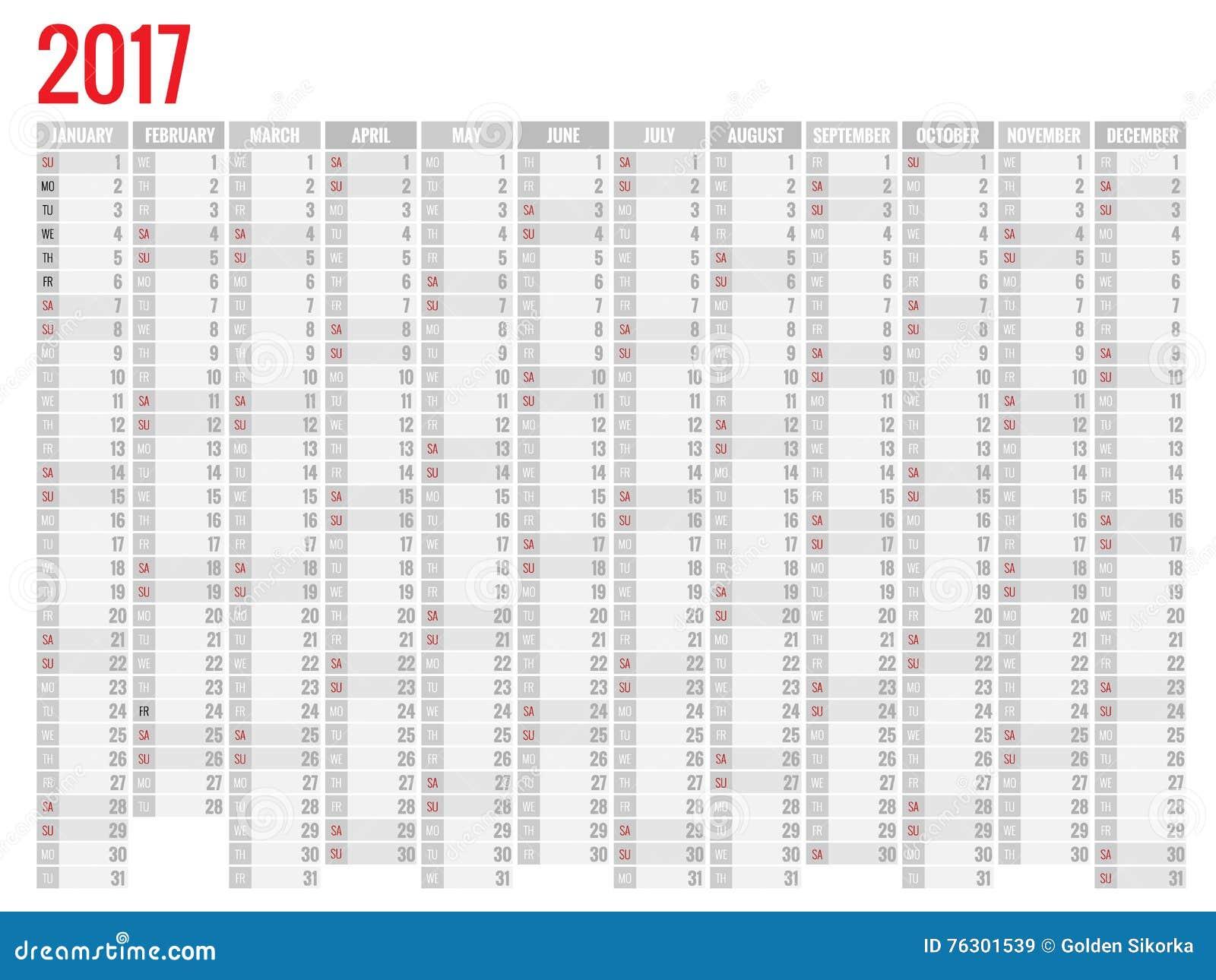 Famoso Progettazione Del Calendario Mensile Della Parete Per 2017 Anni La  LJ98