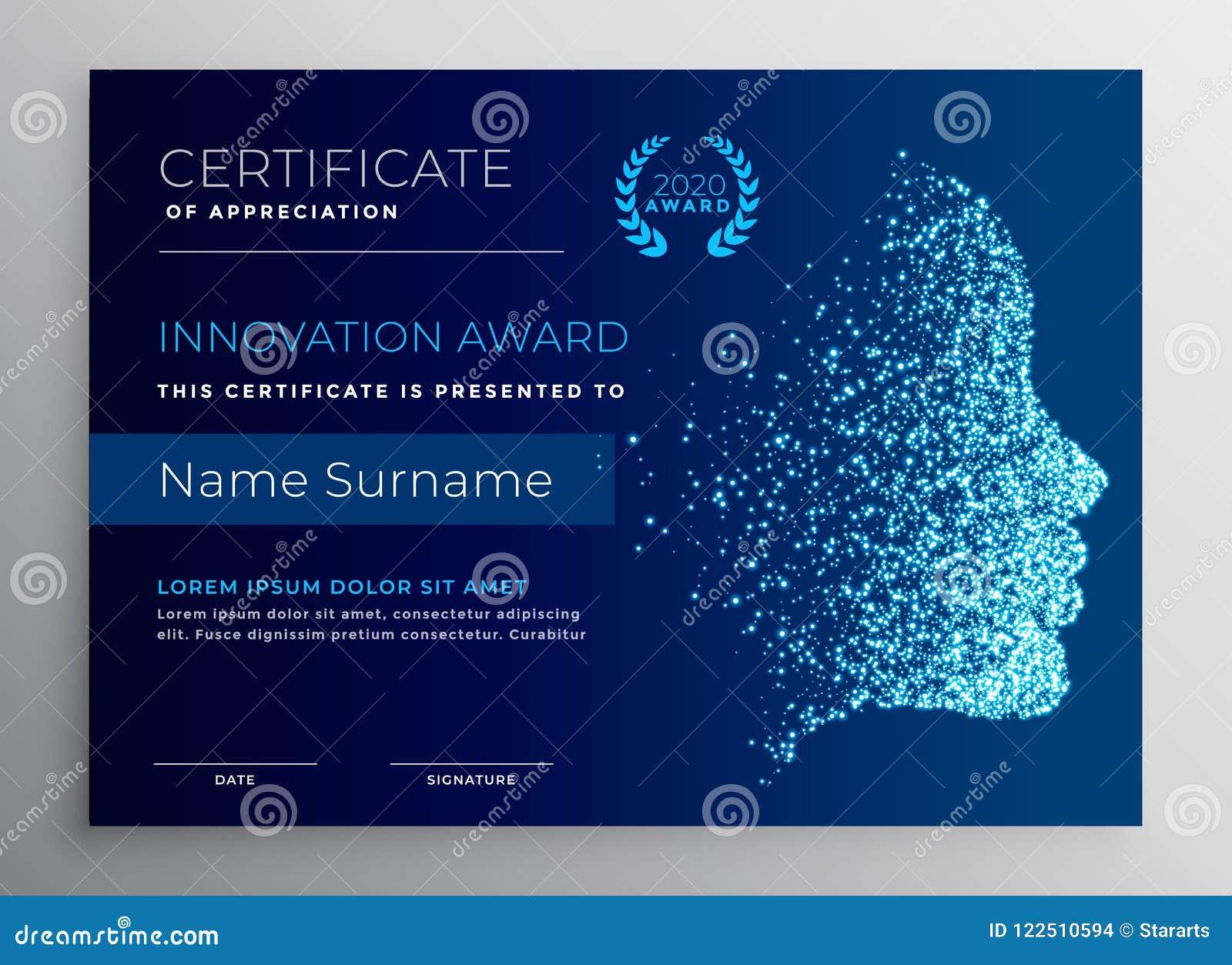Progettazione del certificato del premio dell innovazione con il fronte della particella