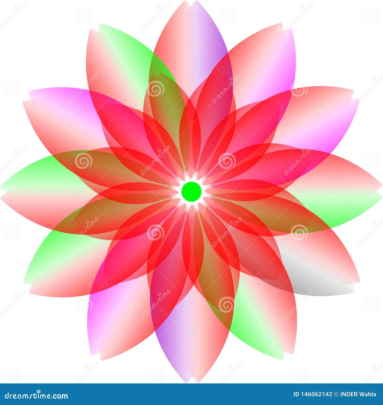 Progettazione del colourfull di logo, fiore della trasparenza fiore del fiore del colourfull