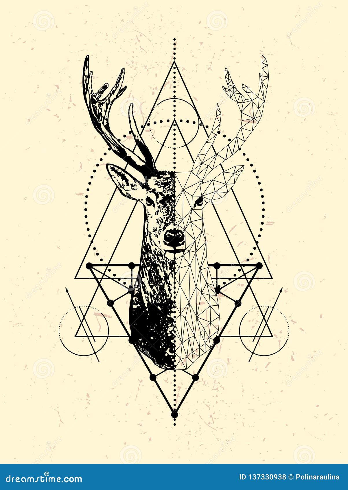 Progettazione del manifesto dei cervi di Poligonal Poli testa bassa dei cervi con il triangolo