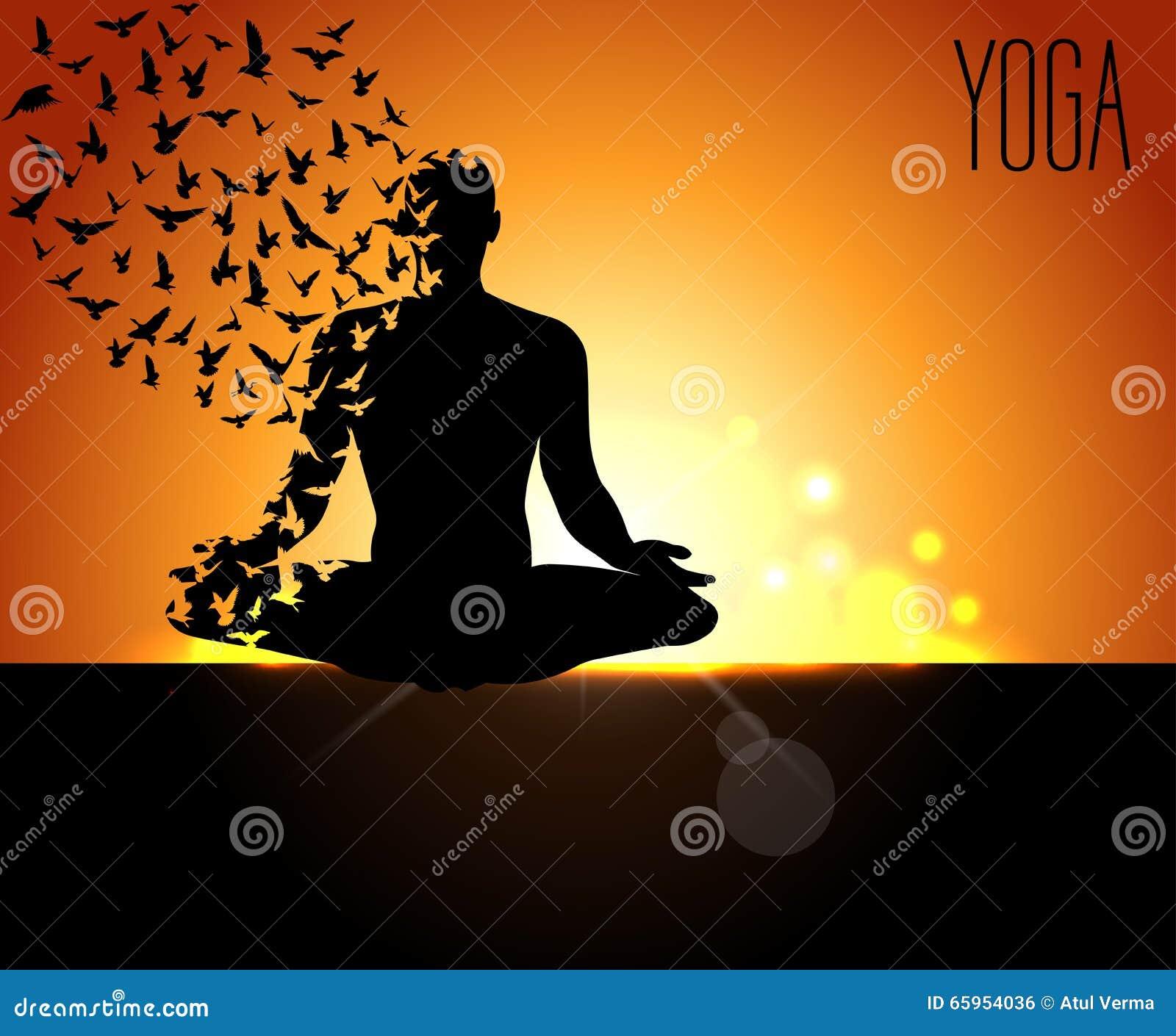 Progettazione del manifesto per la celebrazione del giorno internazionale di yoga, posa di yoga con gli uccelli che volano e il b