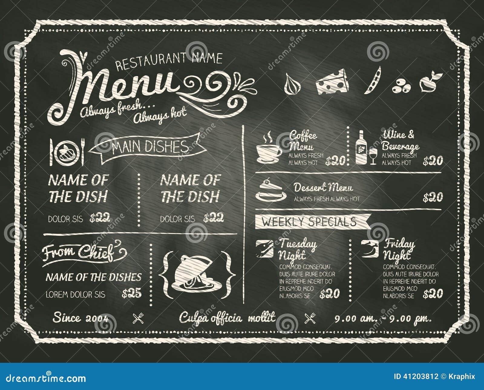 Progettazione del menu dell alimento del ristorante con il fondo della lavagna