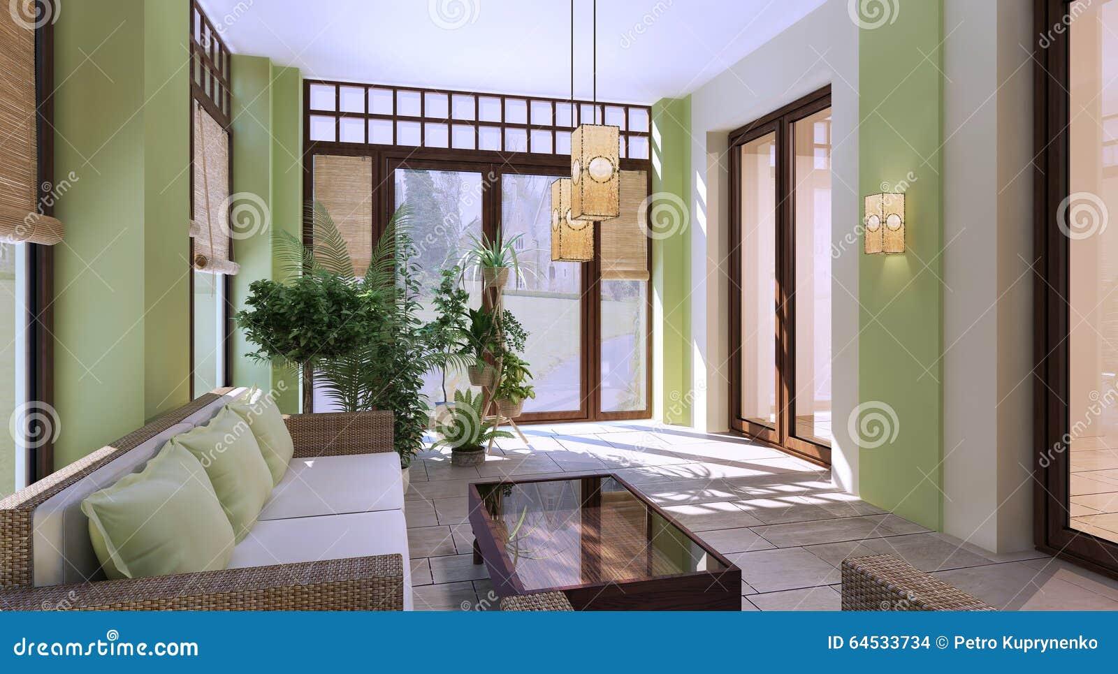 Progettazione Del Terrazzo Moderno Di Estate Fotografia Stock ...