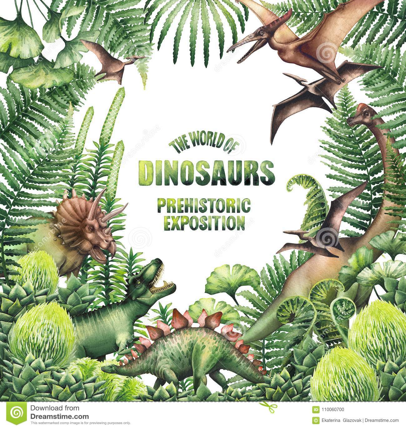 Progettazione dell acquerello con le piante ed i dinosauri preistorici