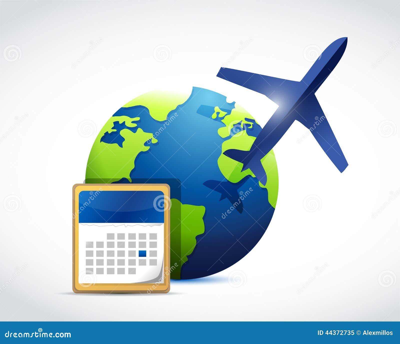 Progettazione dell illustrazione del calendario di viaggio del globo