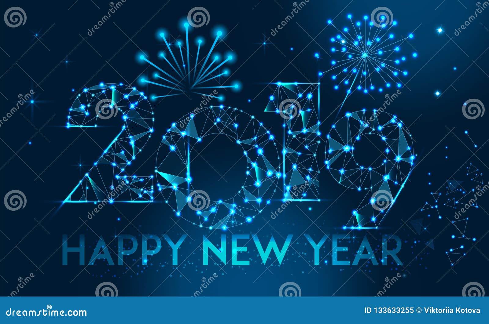 Progettazione 2019 dell insegna del buon anno Cartolina d auguri poligonale geometrica di 2019 nuovi anni Priorità bassa dei fuoc