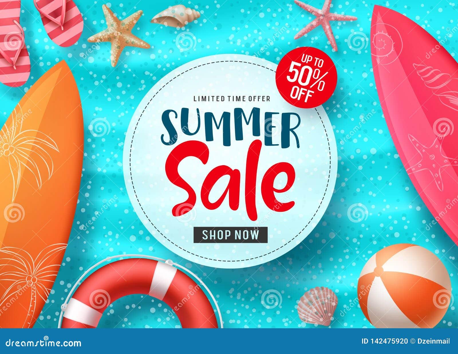 Progettazione dell insegna di vettore di vendita di estate con gli elementi variopinti della spiaggia e testo di vendita nello sp