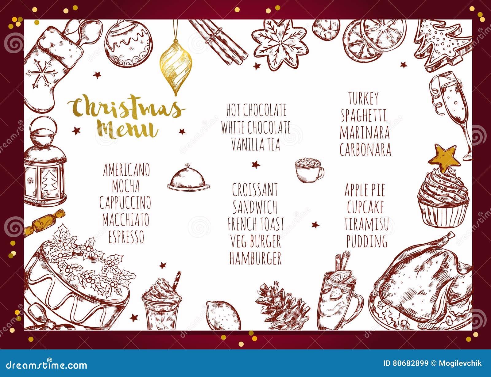 Menu Di Natale Editabile.Progettazione Dell Opuscolo Del Menu Di Natale Illustrazione Vettoriale Illustrazione Di Grafico Background 80682899