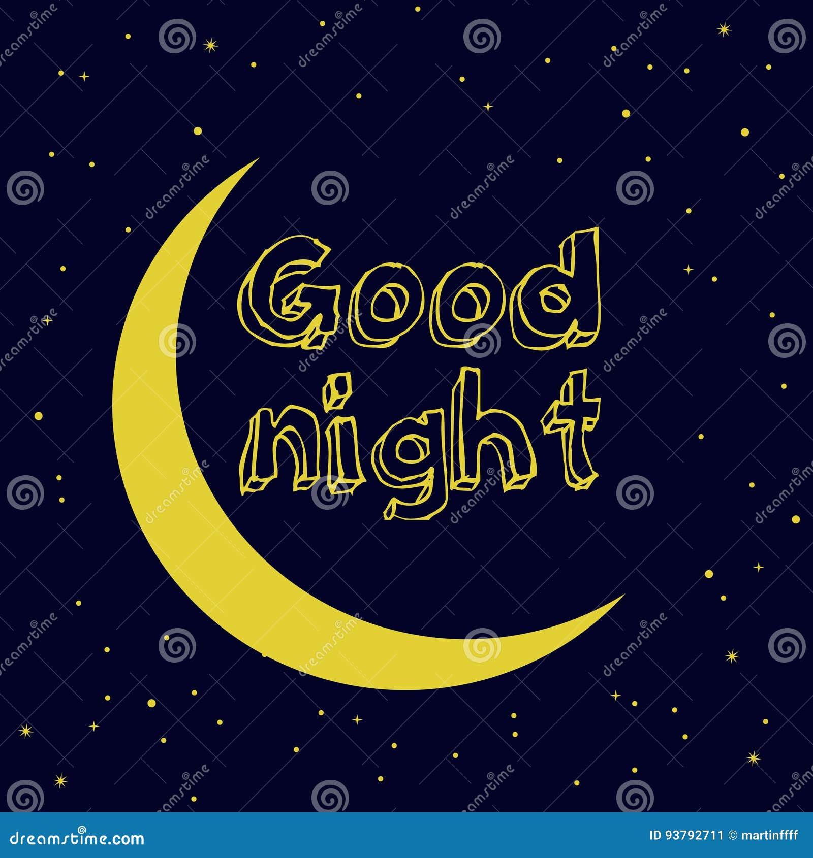 Progettazione Della Buona Notte Con La Luna E Le Stelle Sul Cielo