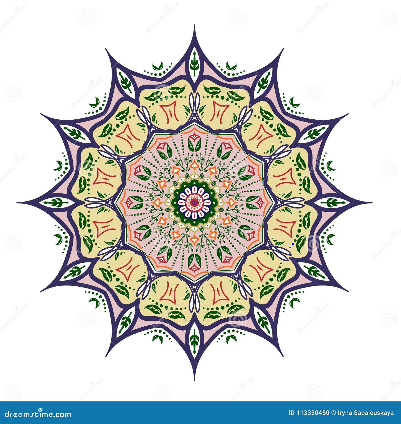 Progettazione della mandala, elementi decorativi d annata, fondo ornamentale di scarabocchio