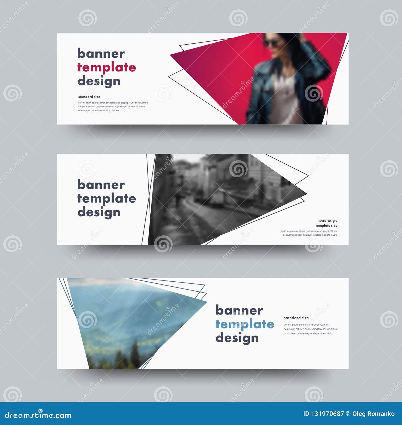 Progettazione delle insegne orizzontali bianche di web di vettore con con triangul