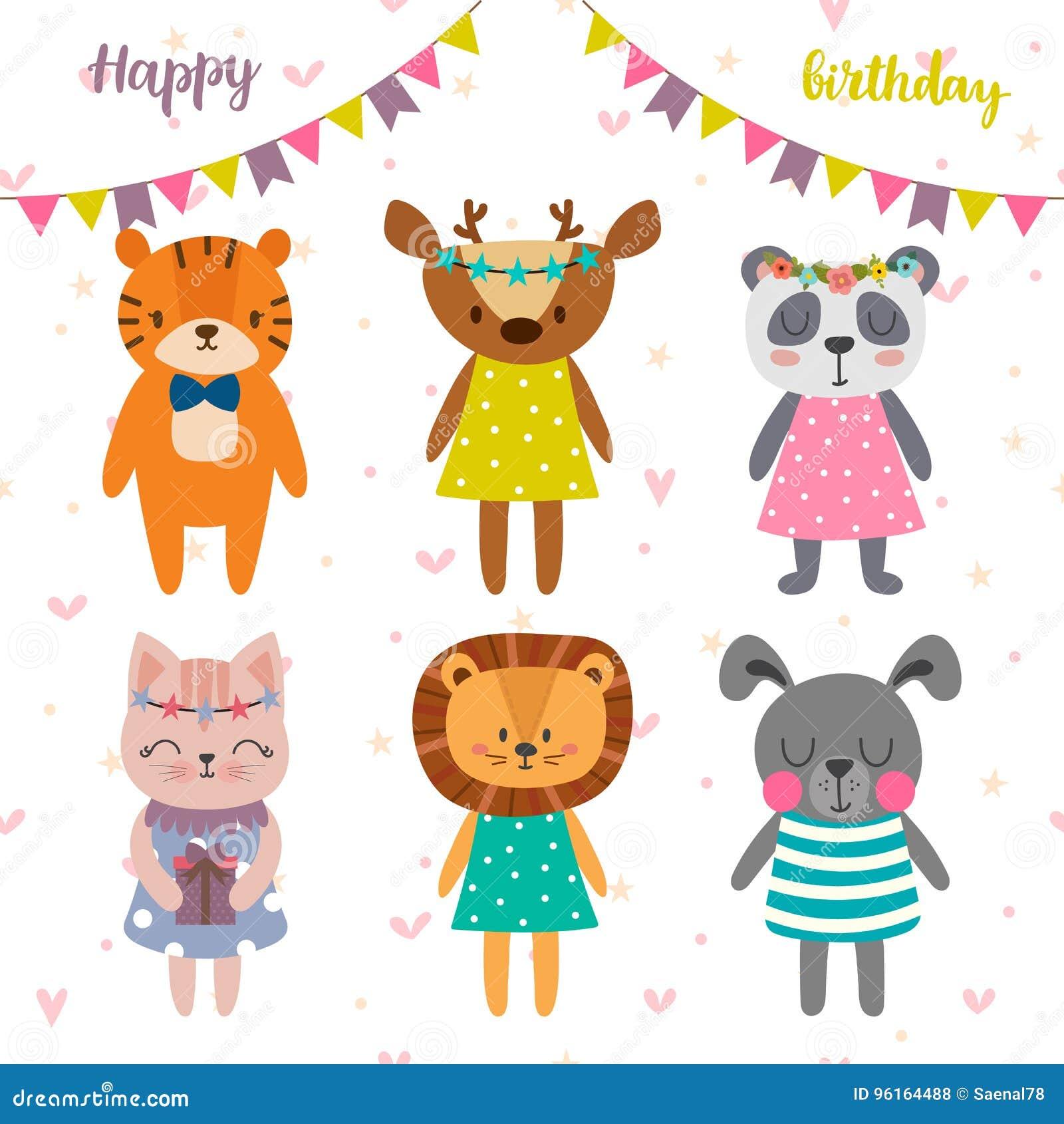 Progettazione Di Buon Compleanno Con Gli Animali Svegli Del Fumetto