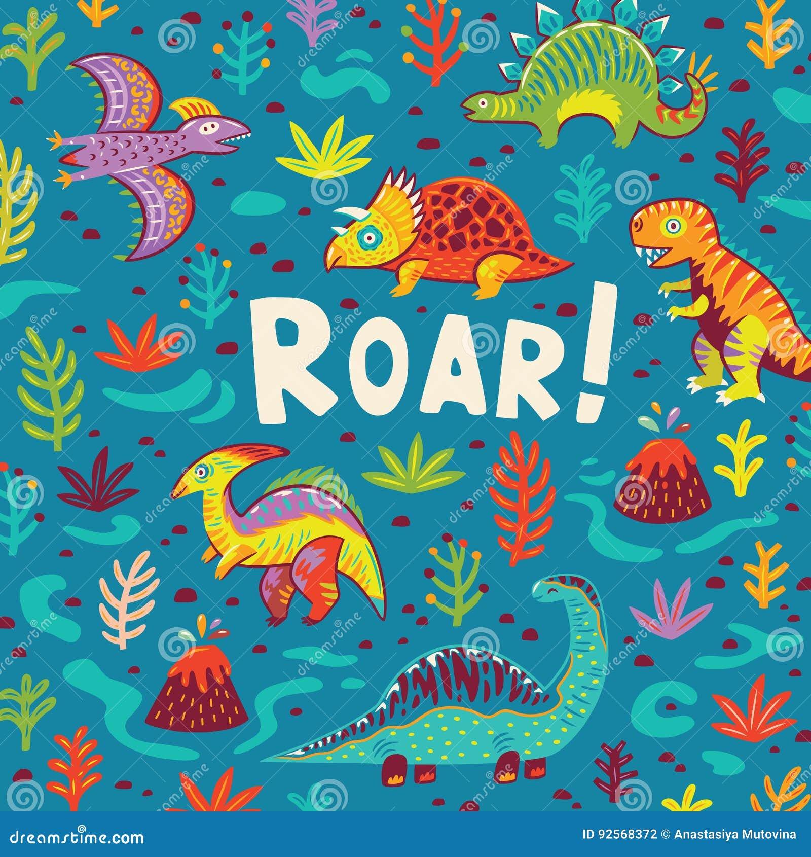 Progettazione di carta del partito dei dinosauri Illustrazione di vettore