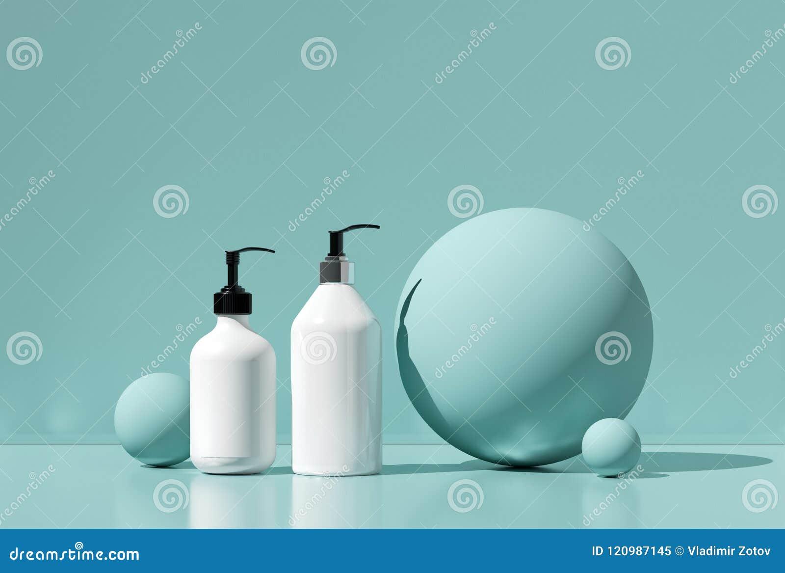 Progettazione di crema cosmetica naturale, siero, imballaggio in bianco della bottiglia dello skincare Bio- prodotto biologico Be