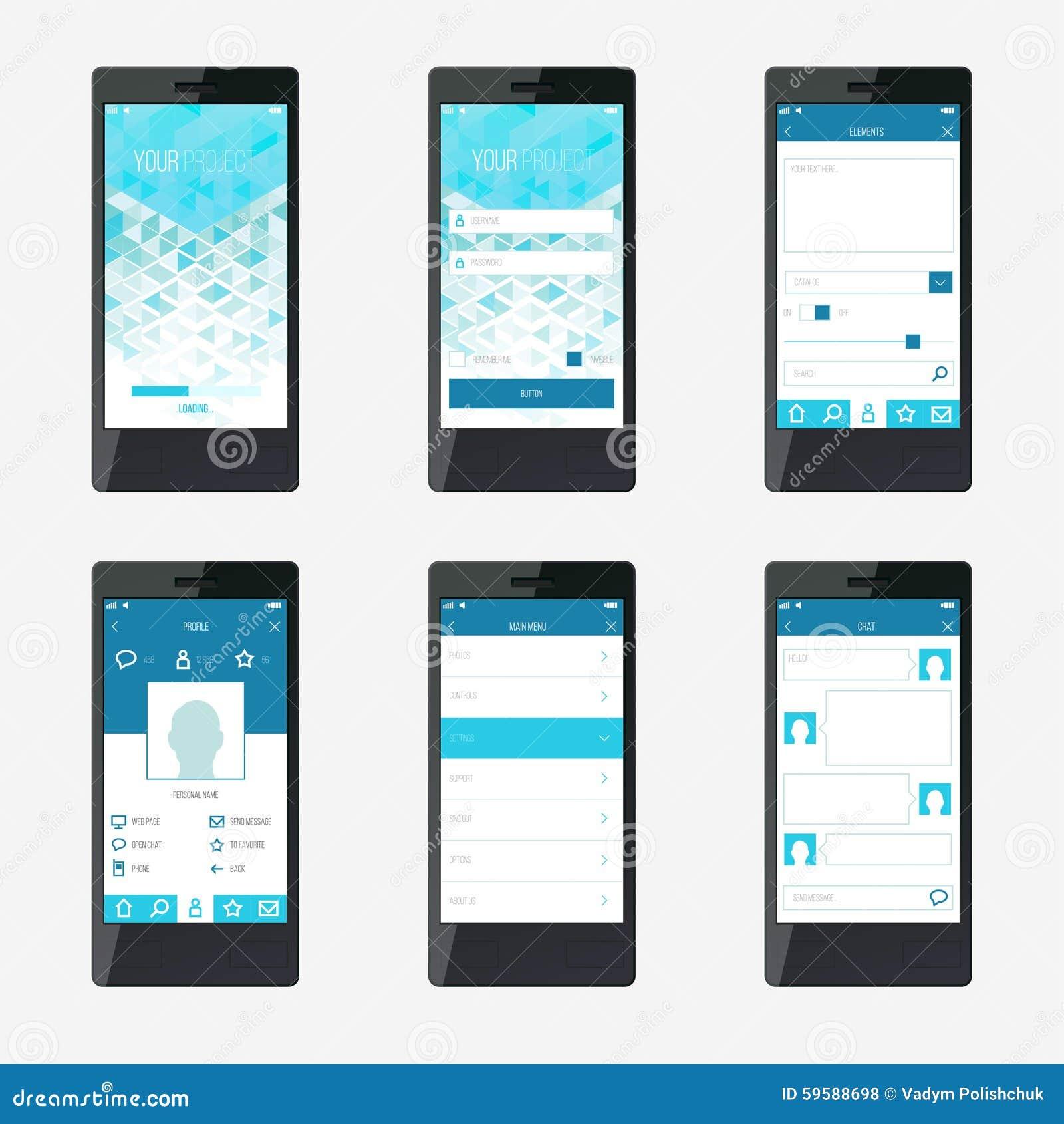Progettazione di interfaccia mobile di applicazione del modello