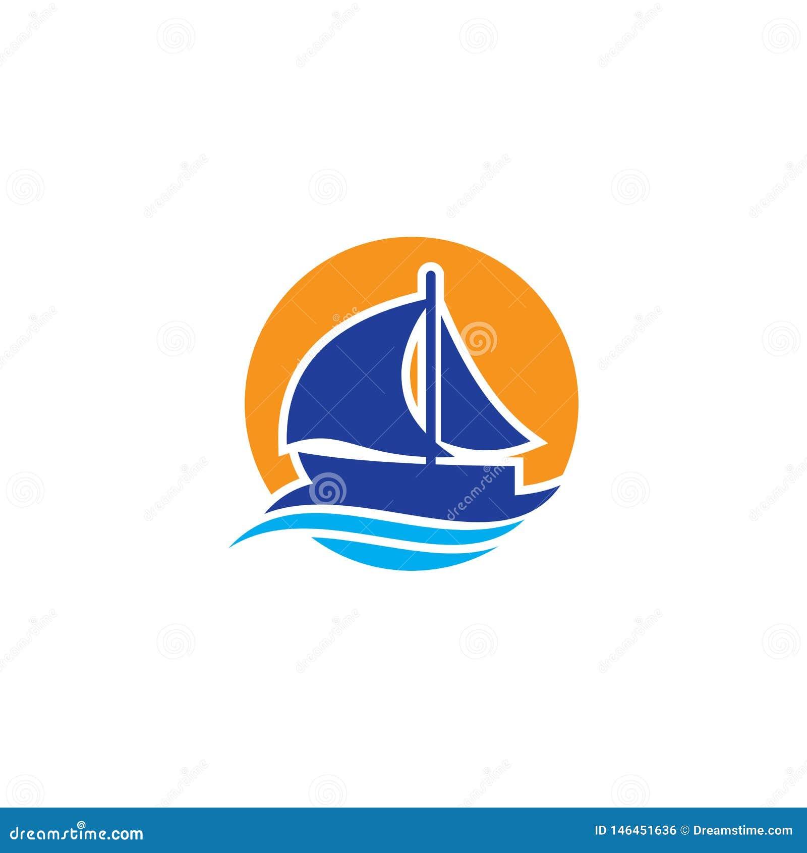 Progettazione di logo dell onda della nave del cerchio