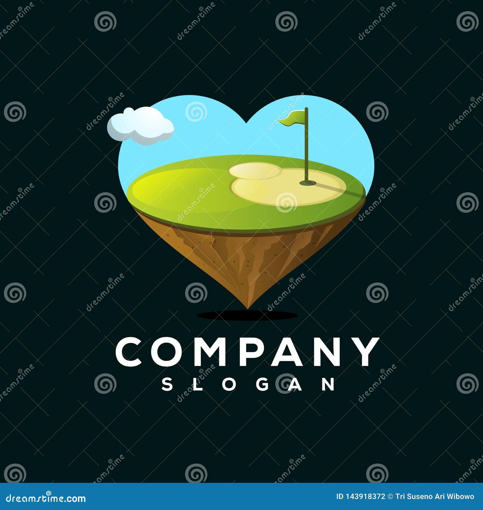 Progettazione di logo di golf di amore pronta per l uso