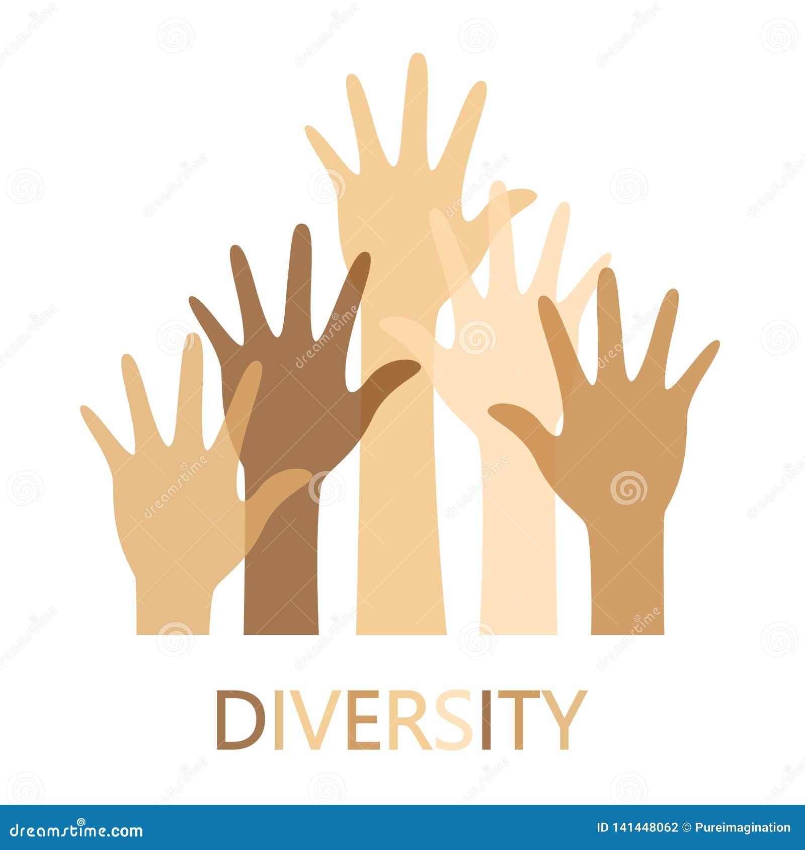 Progettazione di massima di diversità, mani su con testo
