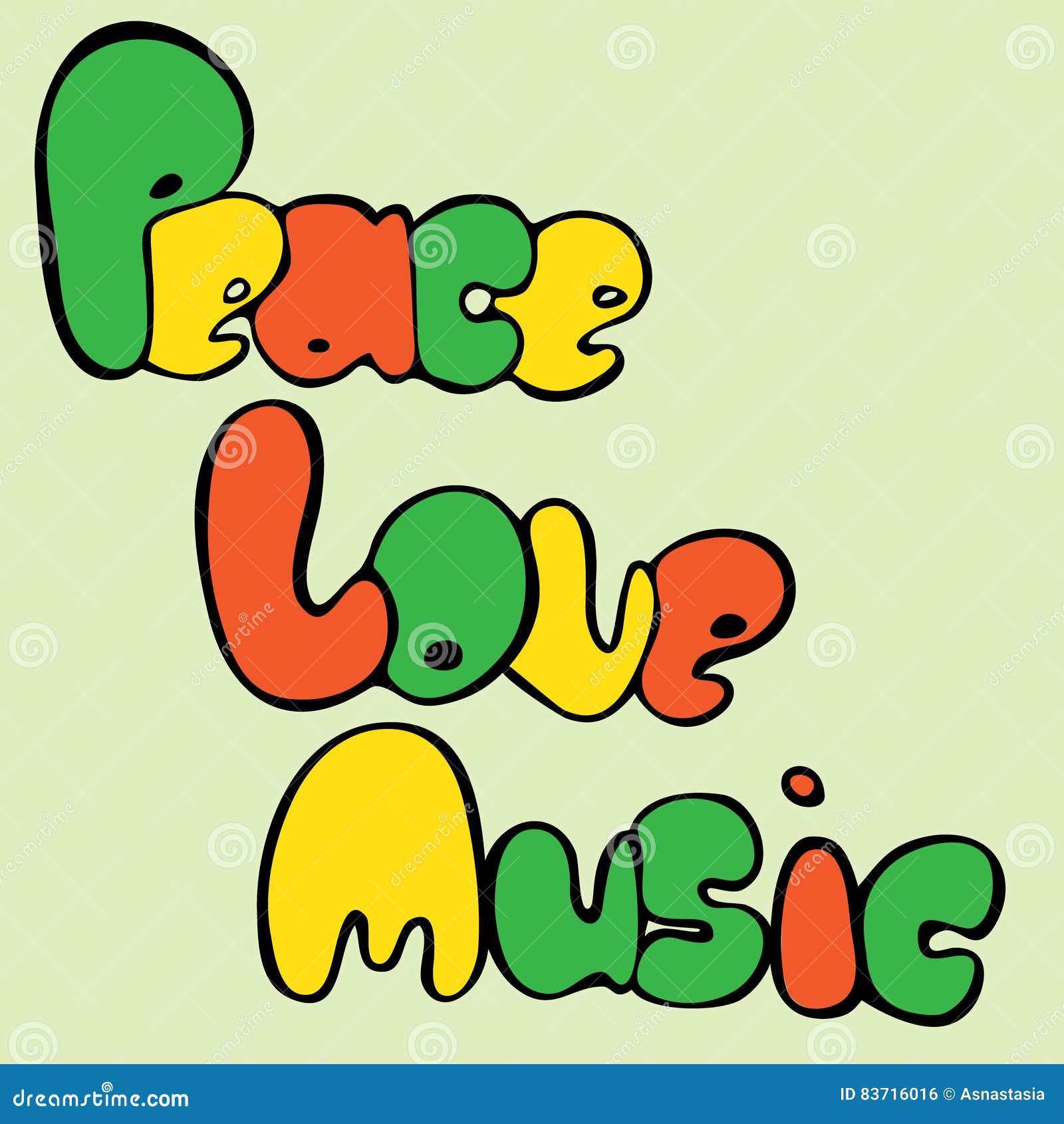 Progettazione di pace, di amore e di musica nello stile della bolla nei colori verdi, gialli e rossi Illustrazione di vettore