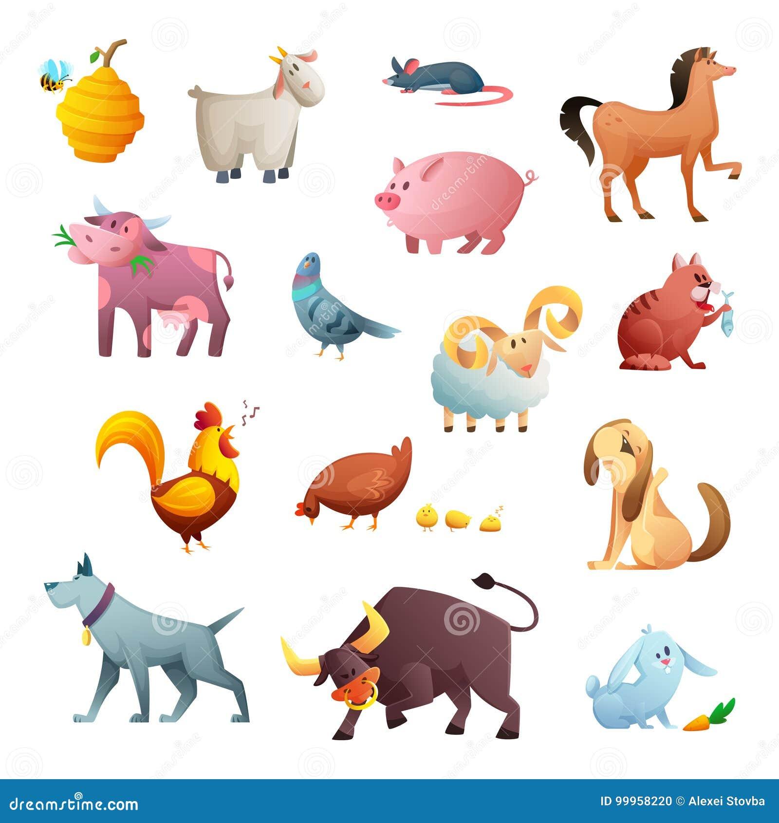 Progettazione di personaggio dei cartoni animati degli - Animali dei cartoni animati a colori ...
