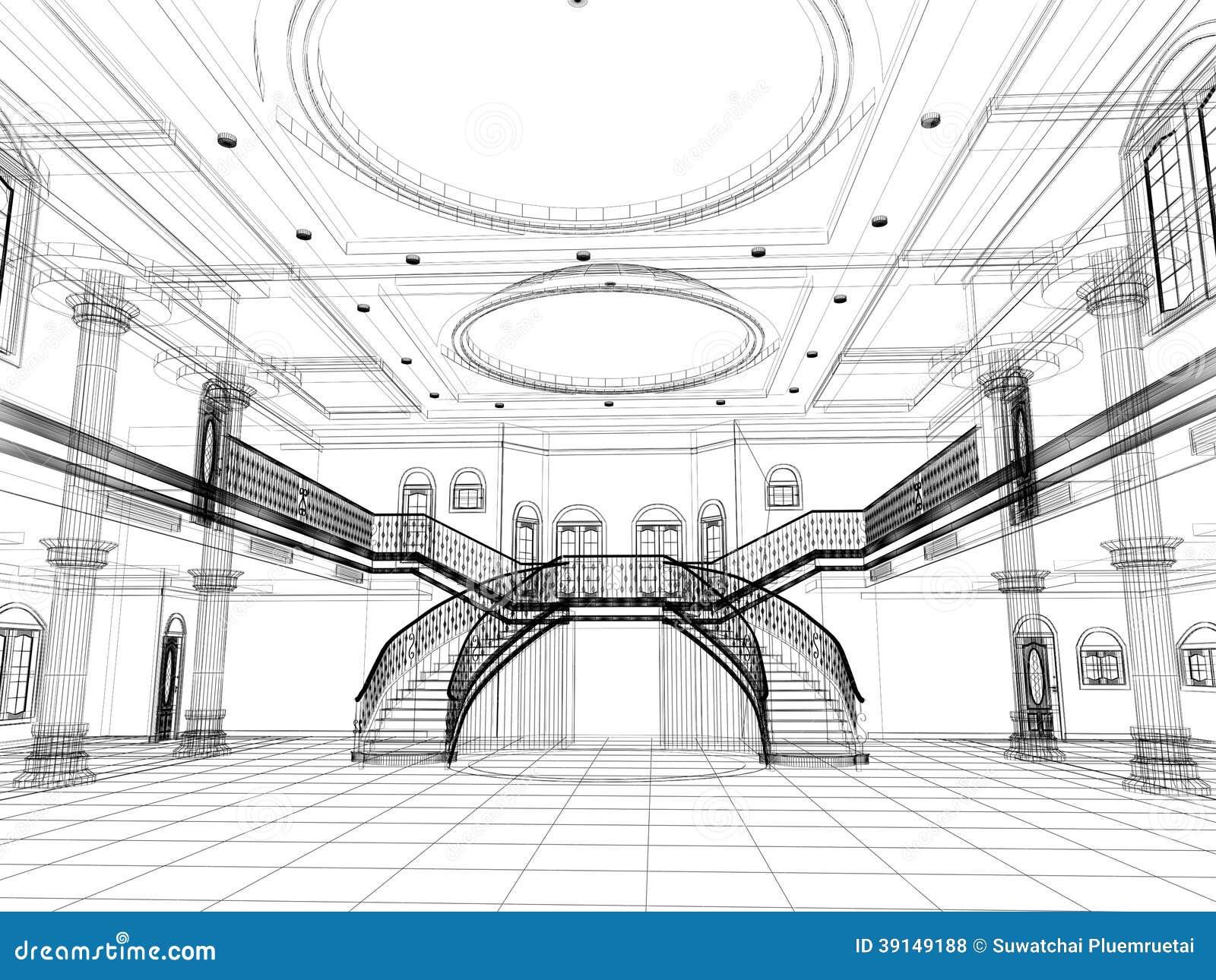 progettazione di schizzo del corridoio di lusso interno ... - Lusso Estratto Lavandino Del Bagno
