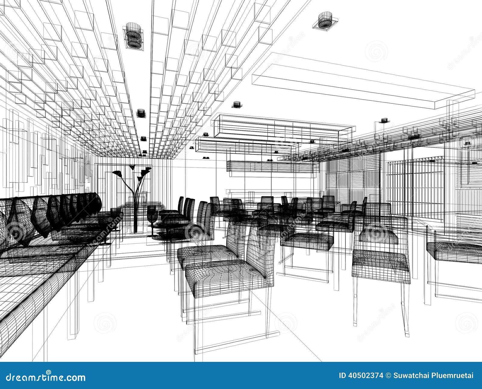 Progettazione di schizzo del ristorante interno for Software di progettazione di costruzione di case gratuito