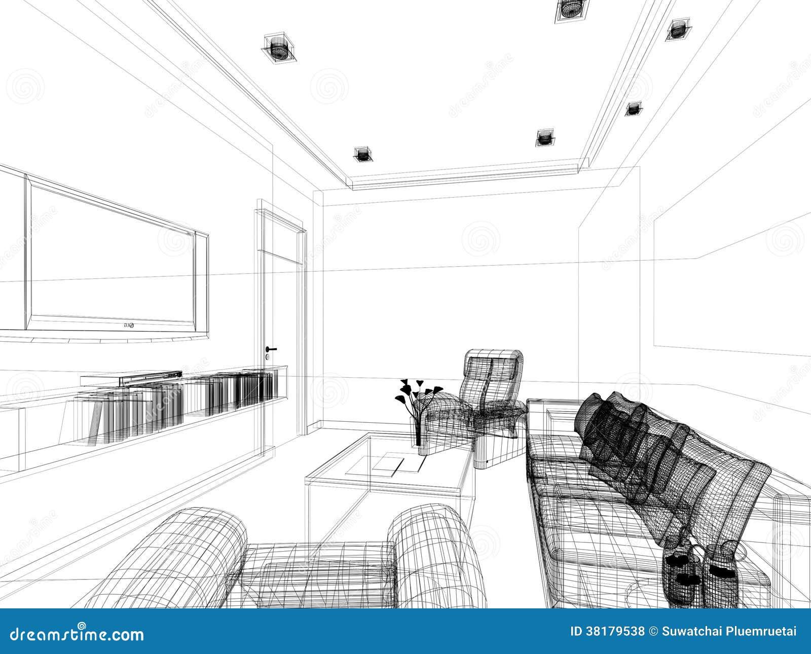 progettazione di schizzo di salotto interno fotografie