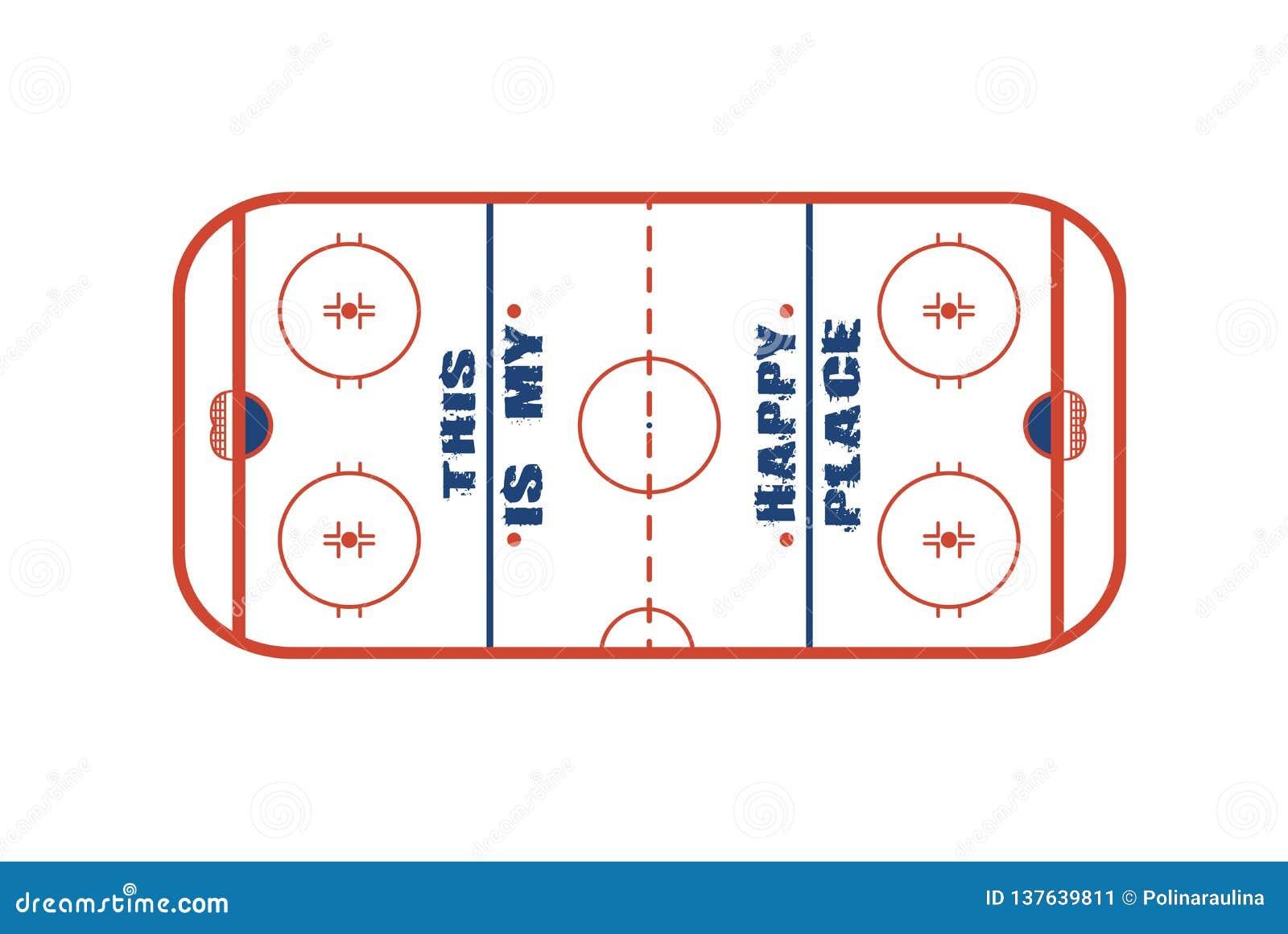 Progettazione di vettore del campo del hockey su ghiaccio Ciò è il mio posto felice