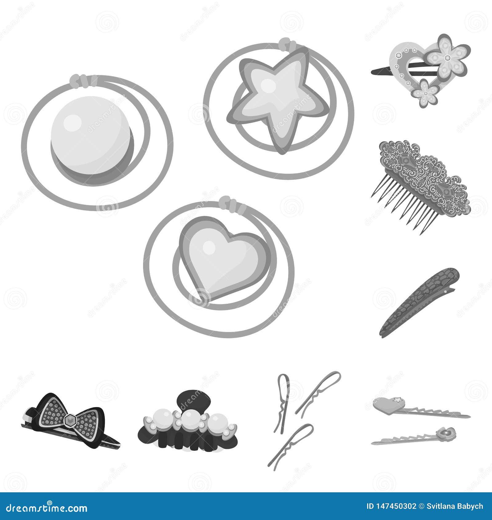 Progettazione di vettore del simbolo del hairclip e di lavoro di parrucchiere Raccolta dell icona di vettore di modo e di lavoro
