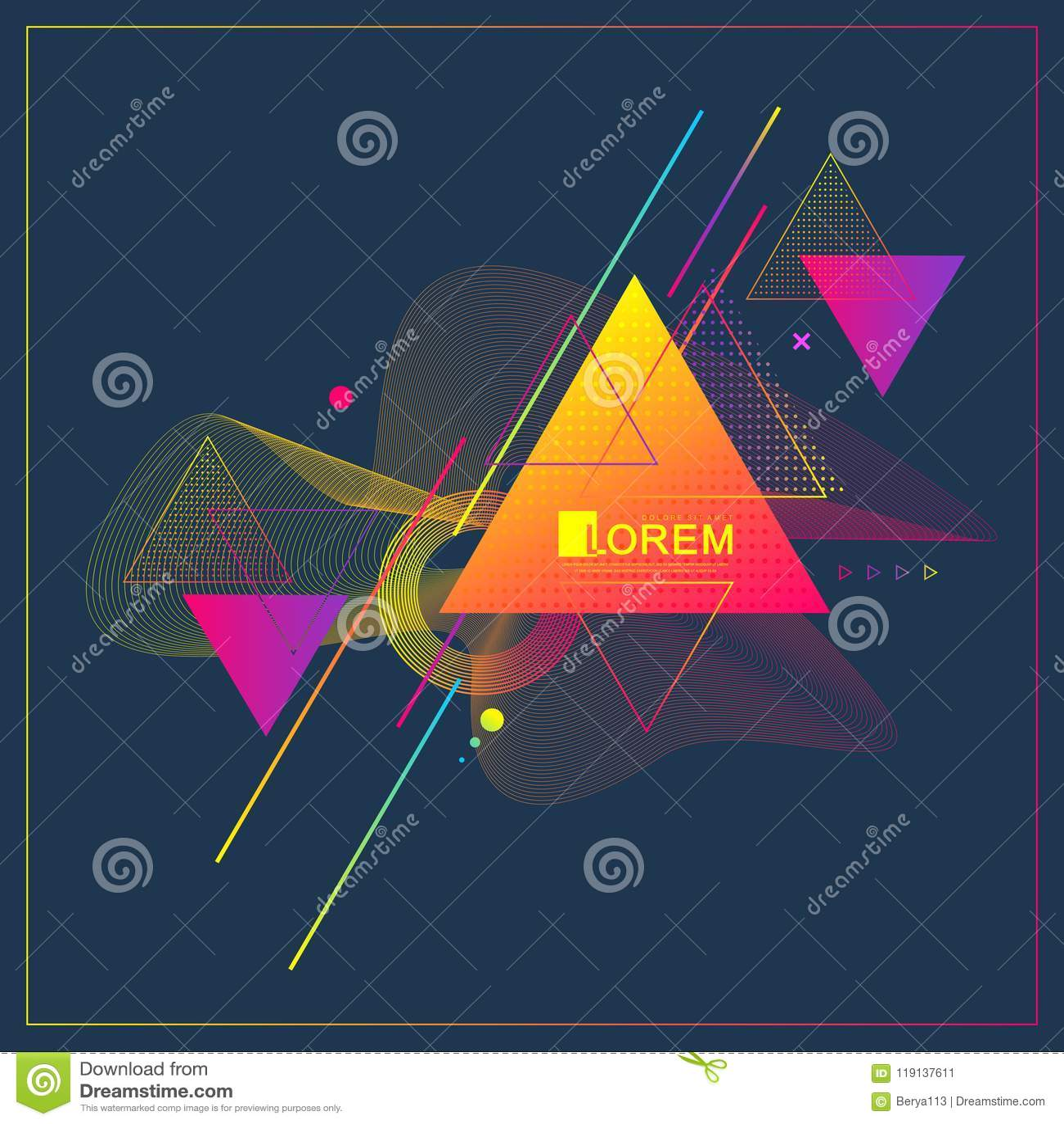Progettazione e fondo geometrici del modello del triangolo astratto moderno con le onde lineari dinamiche Illustrazione di vettor