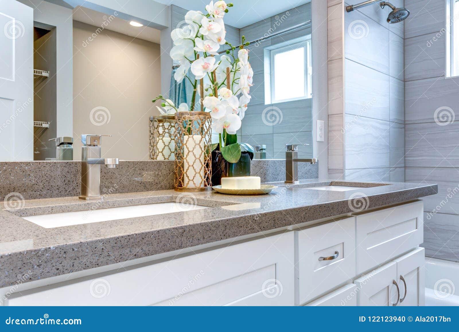 Progettare Il Bagno Di Casa : Progettazione elegante del bagno di colore caldo fotografia stock
