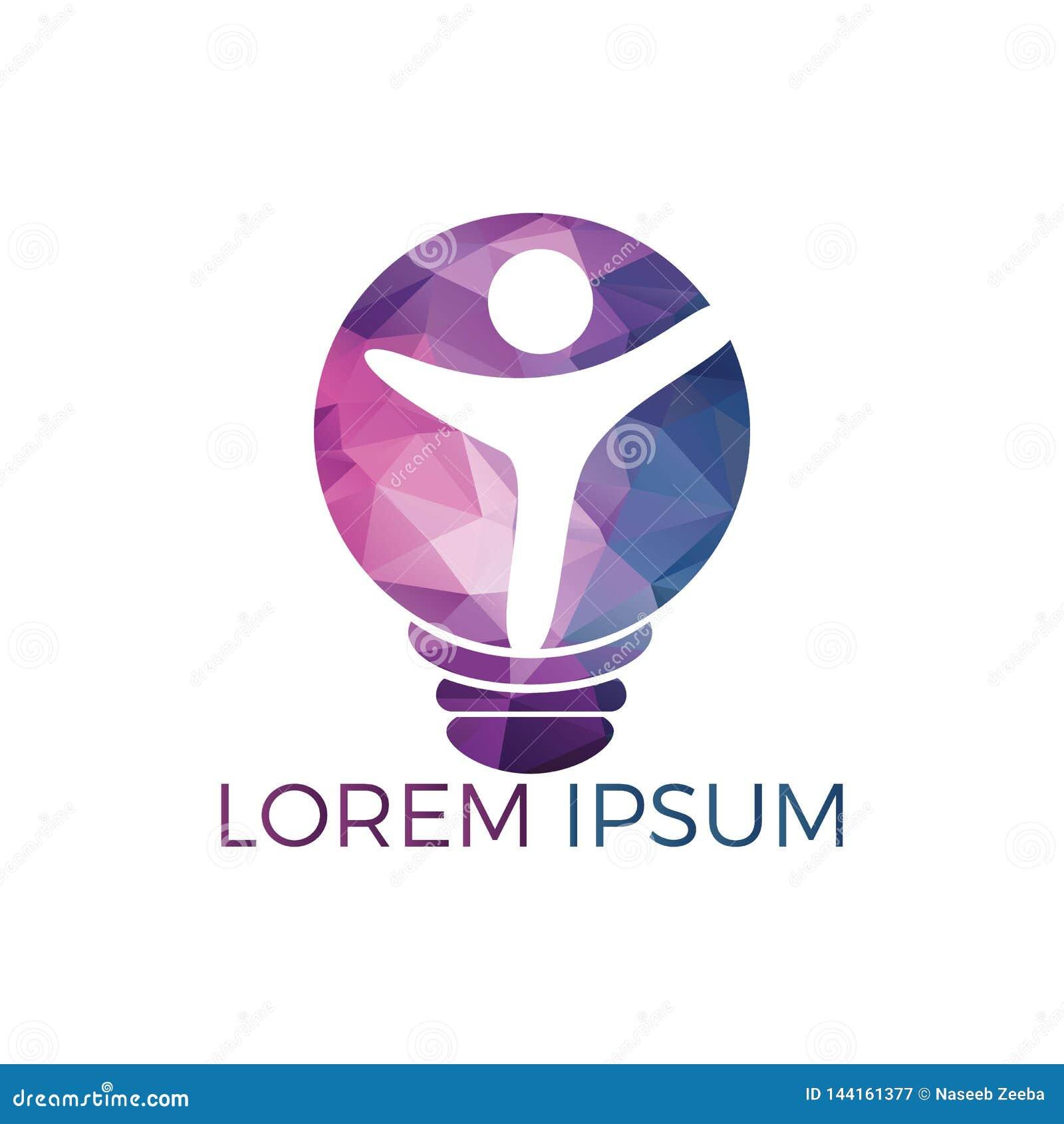 Progettazione felice di logo della lampadina umana e